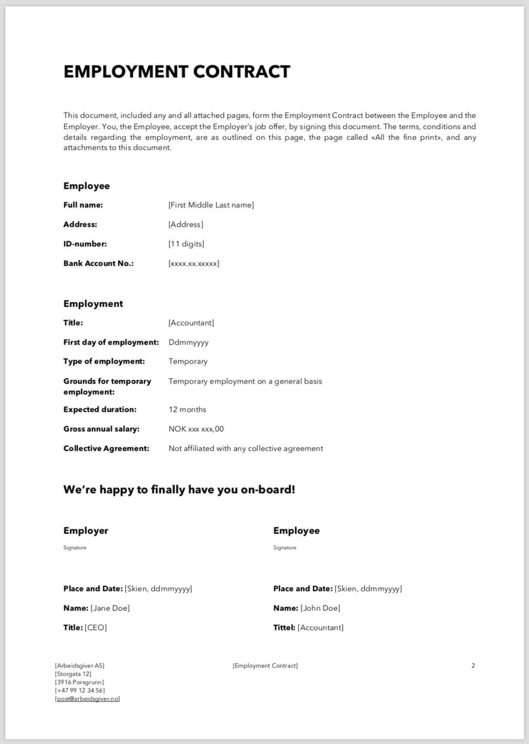 Mal Arbeidsavtale Midlertidig Ansettelse Engelsk