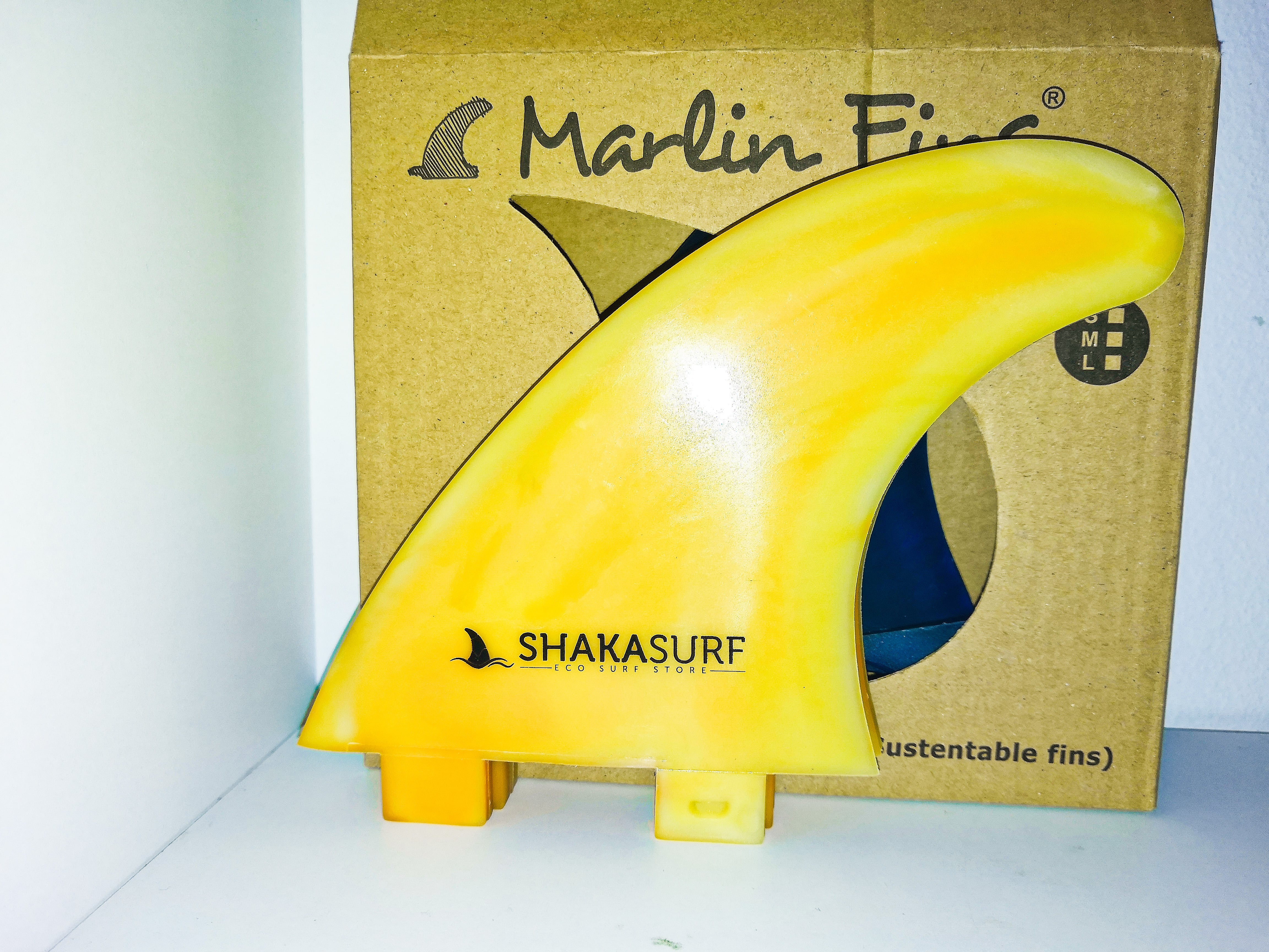 yellow surfboard fin - recycled plastics