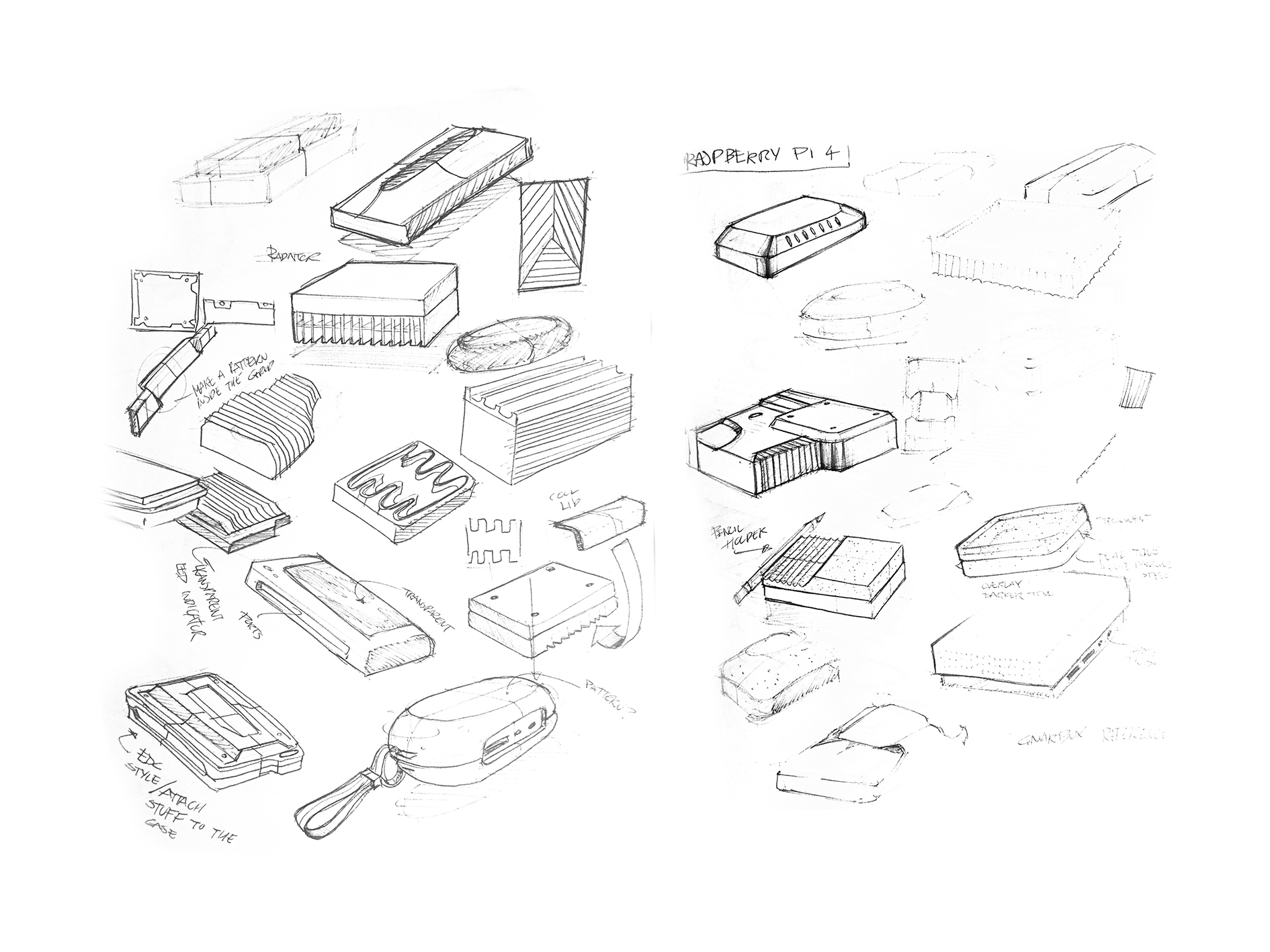 Concept Sketches for Raspberry Pi Case design