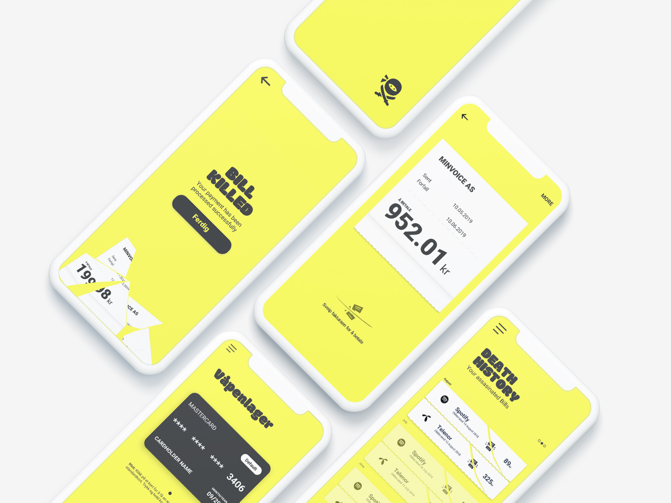 UI and UX design for Bill Kill