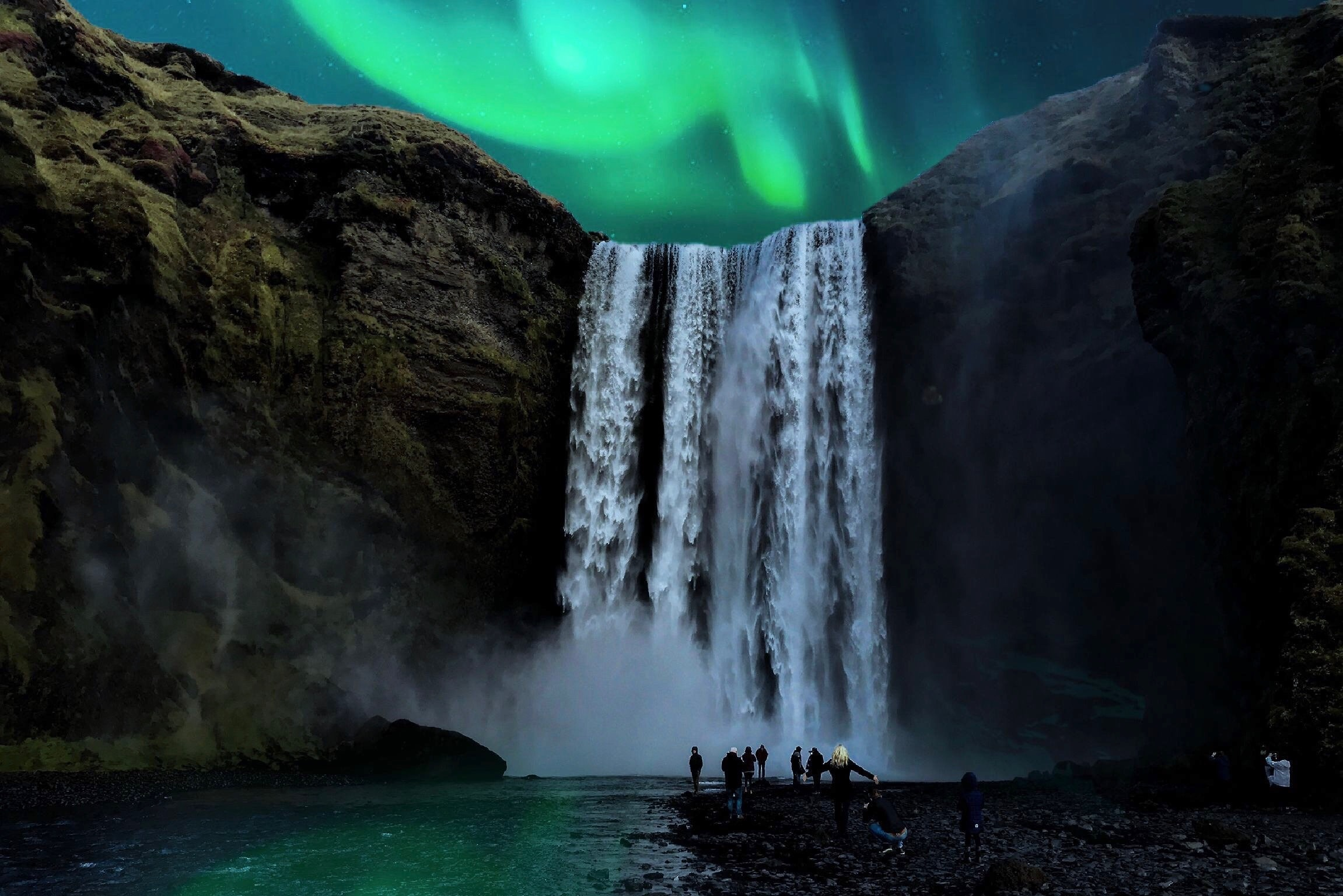 Aurora borealis and a beautiful waterfall