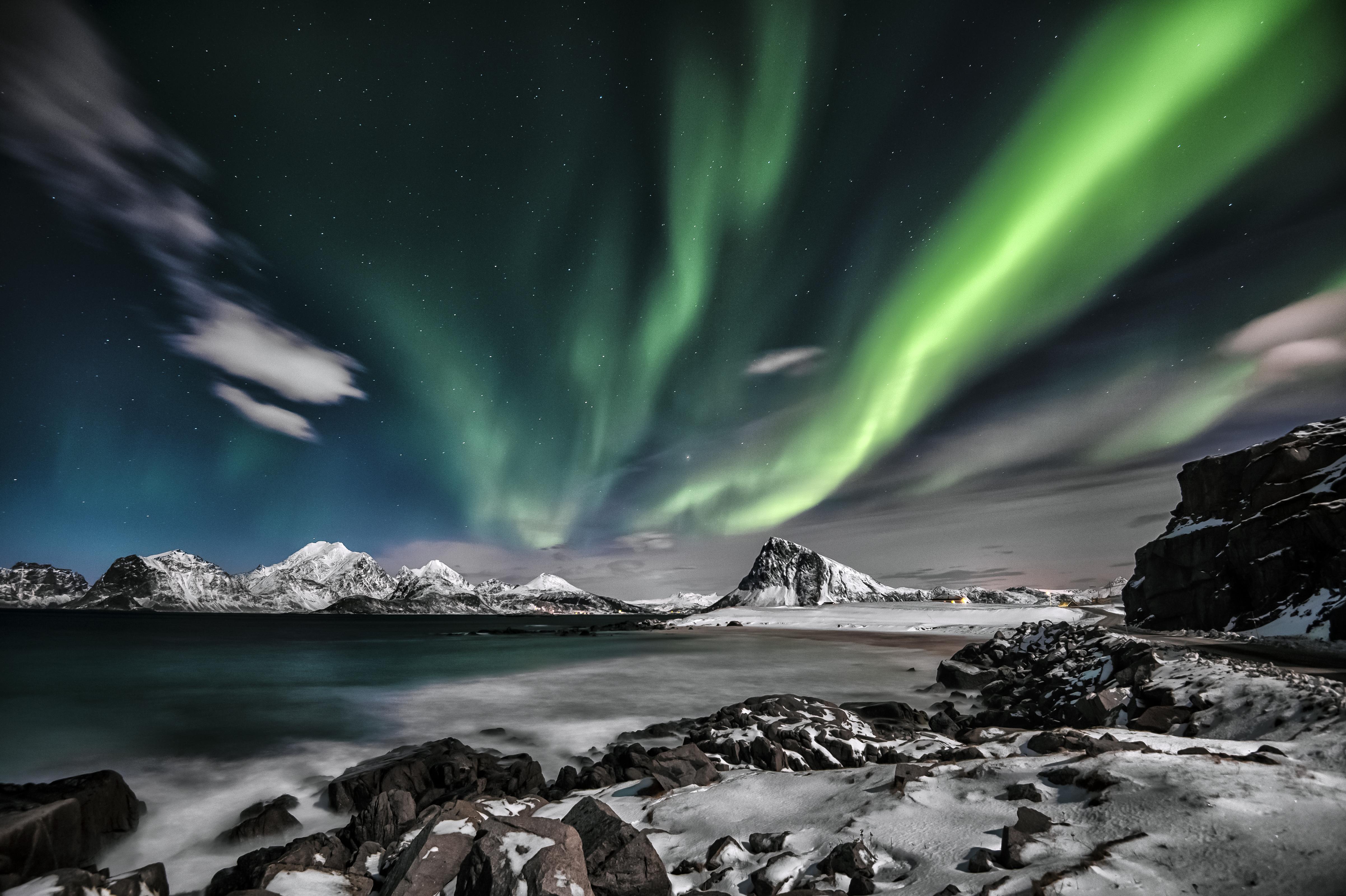 Green aurora borealis.